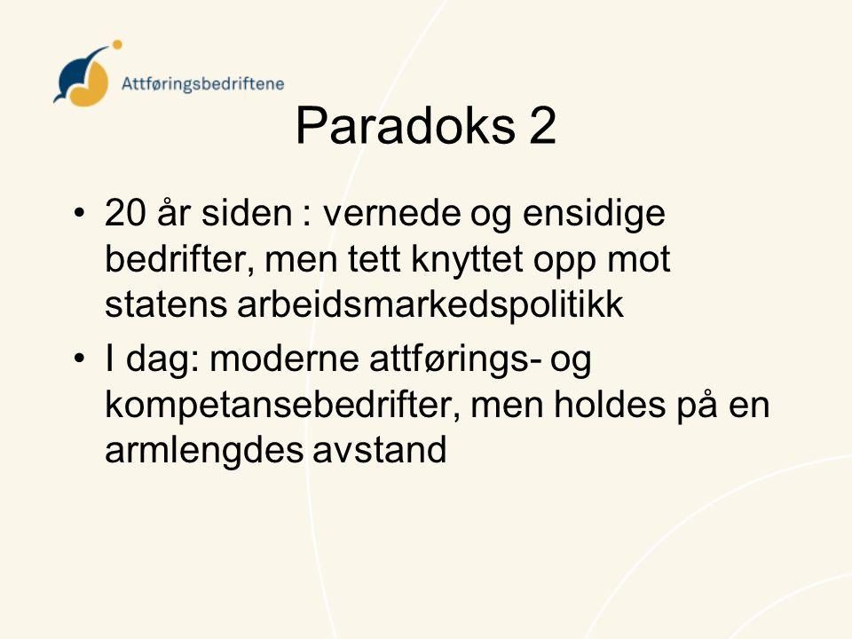 Paradoks 2 •20 år siden : vernede og ensidige bedrifter, men tett knyttet opp mot statens arbeidsmarkedspolitikk •I dag: moderne attførings- og kompet