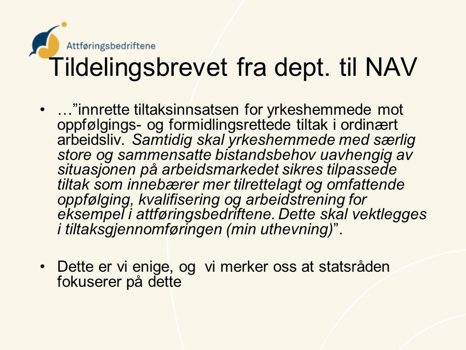 """Tildelingsbrevet fra dept. til NAV •…""""innrette tiltaksinnsatsen for yrkeshemmede mot oppfølgings- og formidlingsrettede tiltak i ordinært arbeidsliv."""