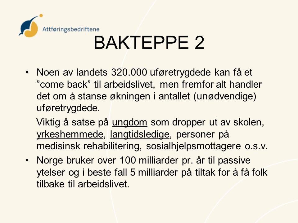 """BAKTEPPE 2 •Noen av landets 320.000 uføretrygdede kan få et """"come back"""" til arbeidslivet, men fremfor alt handler det om å stanse økningen i antallet"""