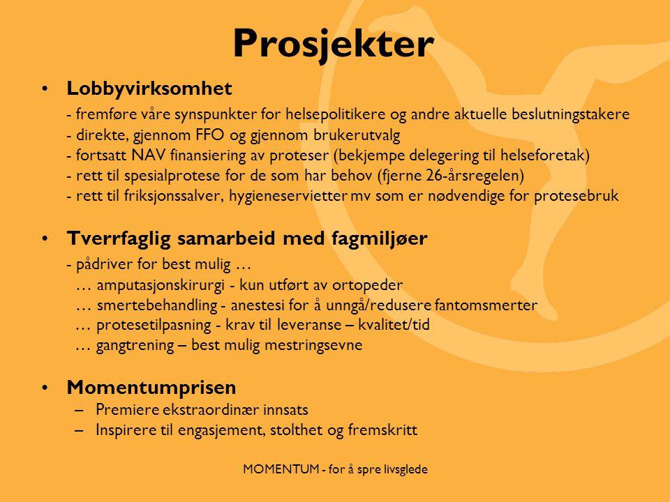 Prosjekter •Lobbyvirksomhet - fremføre våre synspunkter for helsepolitikere og andre aktuelle beslutningstakere - direkte, gjennom FFO og gjennom brukerutvalg - fortsatt NAV finansiering av proteser (bekjempe delegering til helseforetak) - rett til spesialprotese for de som har behov (fjerne 26-årsregelen) - rett til friksjonssalver, hygieneservietter mv som er nødvendige for protesebruk •Tverrfaglig samarbeid med fagmiljøer - pådriver for best mulig … … amputasjonskirurgi - kun utført av ortopeder … smertebehandling - anestesi for å unngå/redusere fantomsmerter … protesetilpasning - krav til leveranse – kvalitet/tid … gangtrening – best mulig mestringsevne •Momentumprisen –Premiere ekstraordinær innsats –Inspirere til engasjement, stolthet og fremskritt MOMENTUM - for å spre livsglede