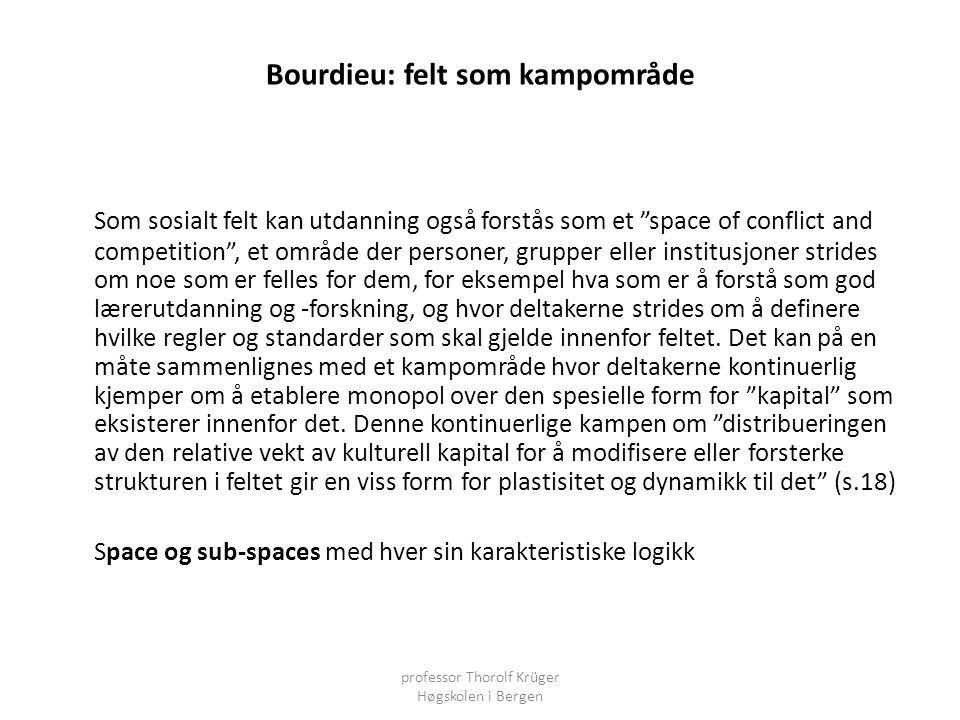"""Bourdieu: felt som kampområde Som sosialt felt kan utdanning også forstås som et """"space of conflict and competition"""", et område der personer, grupper"""