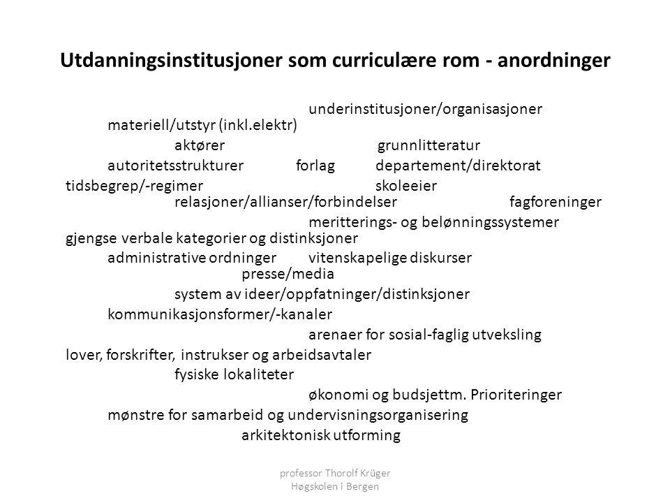 Utdanningsinstitusjoner som curriculære rom - anordninger underinstitusjoner/organisasjoner materiell/utstyr (inkl.elektr) aktører grunnlitteratur aut