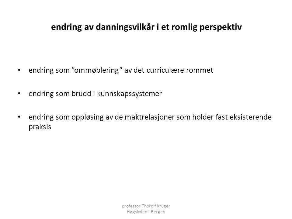 """endring av danningsvilkår i et romlig perspektiv • endring som """"ommøblering"""" av det curriculære rommet • endring som brudd i kunnskapssystemer • endri"""