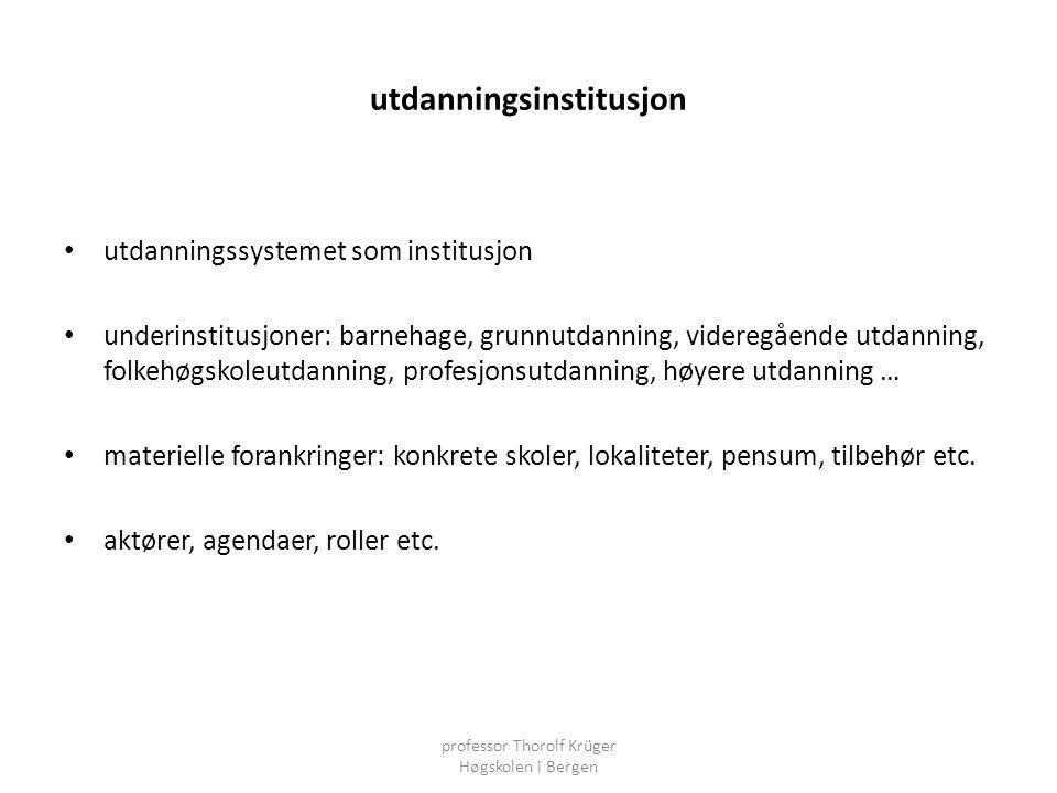 utdanningsinstitusjon • utdanningssystemet som institusjon • underinstitusjoner: barnehage, grunnutdanning, videregående utdanning, folkehøgskoleutdan
