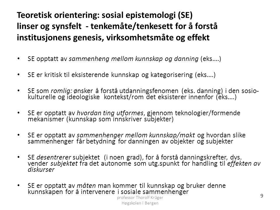 Teoretisk orientering: sosial epistemologi (SE) linser og synsfelt - tenkemåte/tenkesett for å forstå institusjonens genesis, virksomhetsmåte og effek