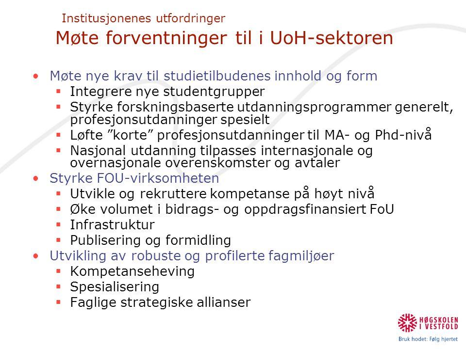 Institusjonenes utfordringer Møte forventninger til i UoH-sektoren •Møte nye krav til studietilbudenes innhold og form  Integrere nye studentgrupper