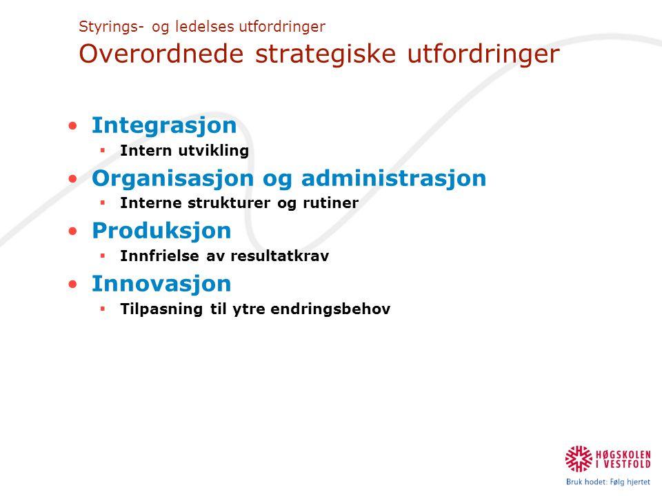 Styrings- og ledelses utfordringer Overordnede strategiske utfordringer •Integrasjon  Intern utvikling •Organisasjon og administrasjon  Interne stru