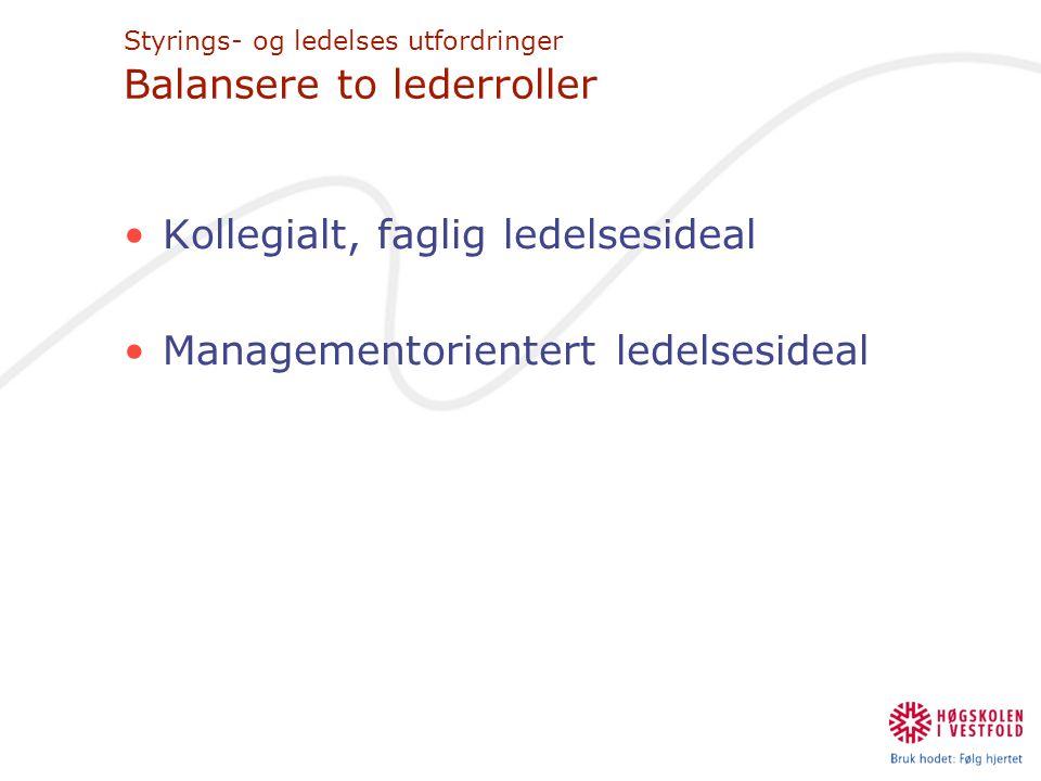 Styrings- og ledelses utfordringer Balansere to lederroller •Kollegialt, faglig ledelsesideal •Managementorientert ledelsesideal