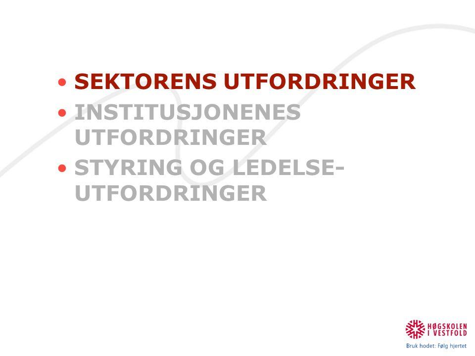 Styrings- og ledelses utfordringer Kollegial medvirkning er avgjørende (Aasen og Stensaker 2007) •Leadership in higher education: The art of balancing technocracy and collegial trust.
