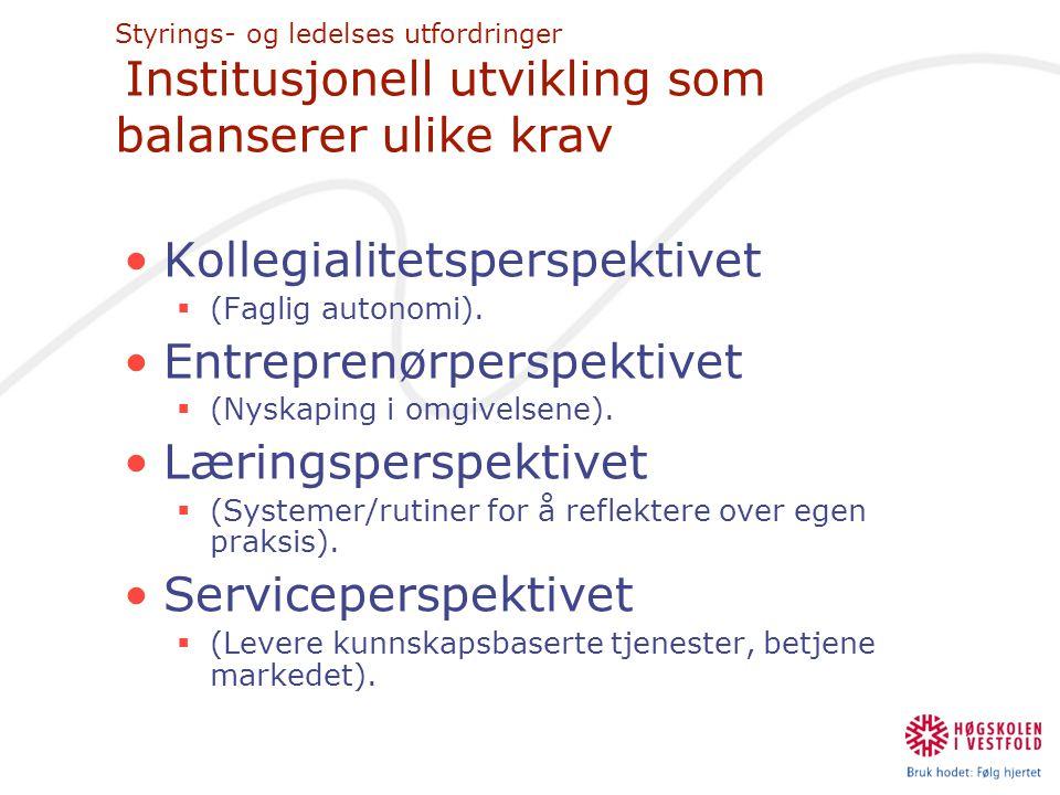 Styrings- og ledelses utfordringer Institusjonell utvikling som balanserer ulike krav •Kollegialitetsperspektivet  (Faglig autonomi). •Entreprenørper