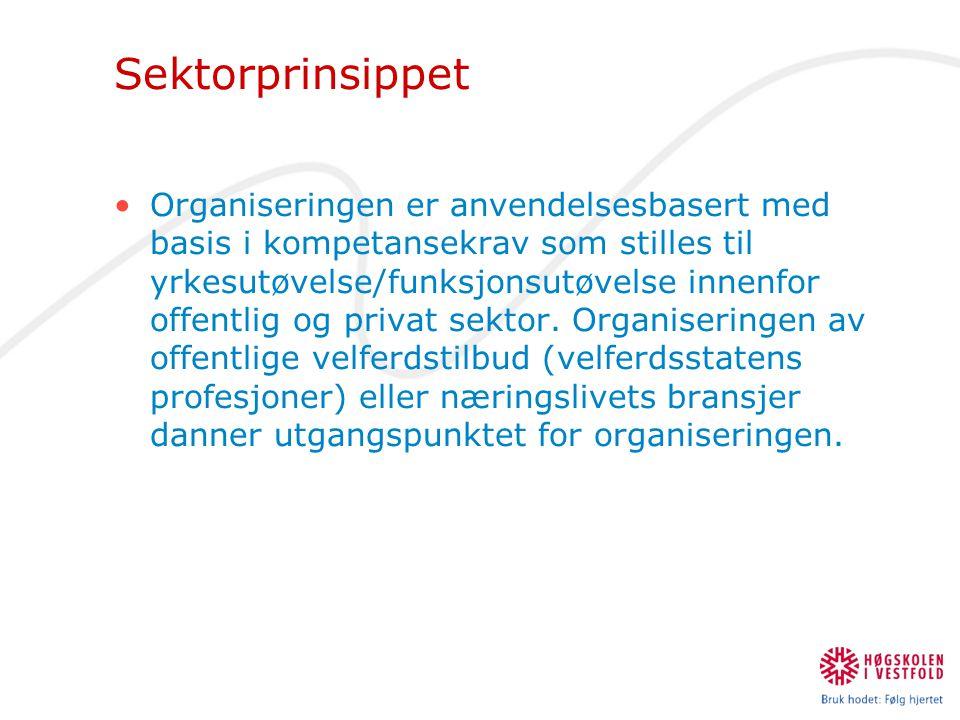 Sektorprinsippet •Organiseringen er anvendelsesbasert med basis i kompetansekrav som stilles til yrkesutøvelse/funksjonsutøvelse innenfor offentlig og