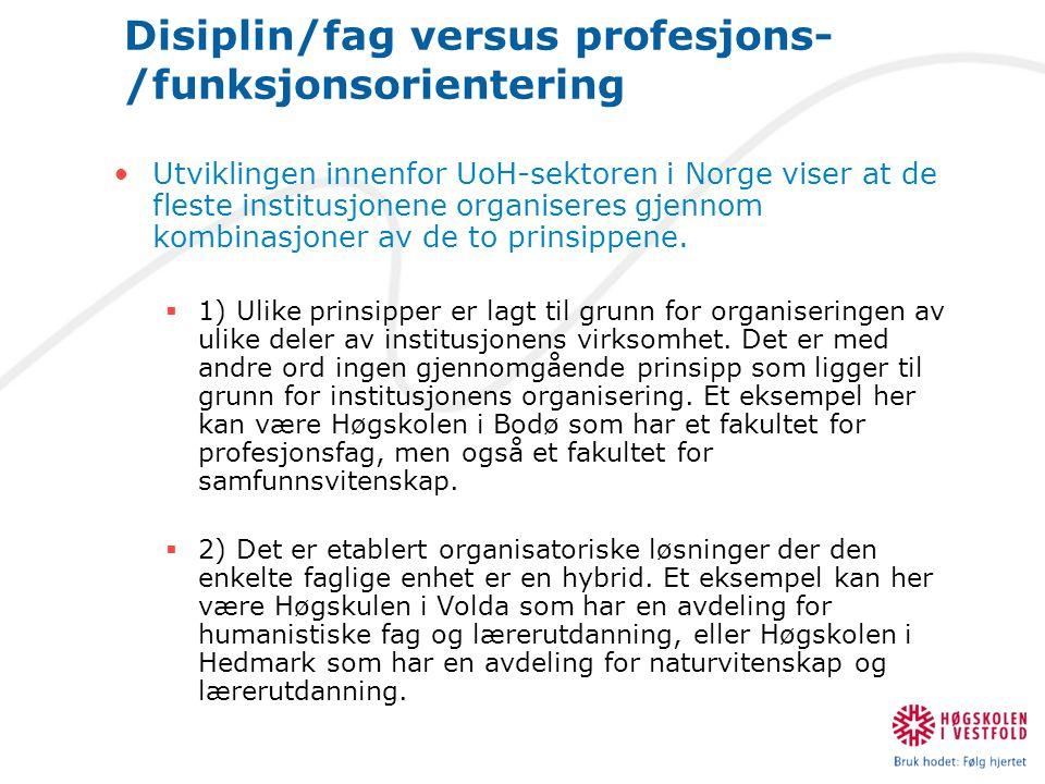 Disiplin/fag versus profesjons- /funksjonsorientering •Utviklingen innenfor UoH-sektoren i Norge viser at de fleste institusjonene organiseres gjennom