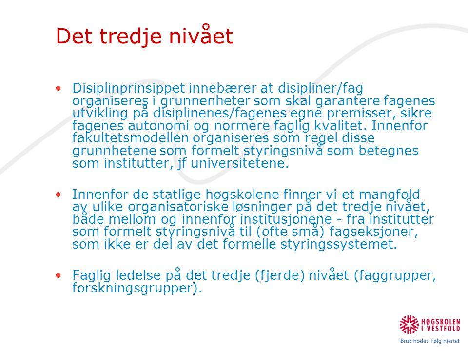 Det tredje nivået •Disiplinprinsippet innebærer at disipliner/fag organiseres i grunnenheter som skal garantere fagenes utvikling på disiplinenes/fage