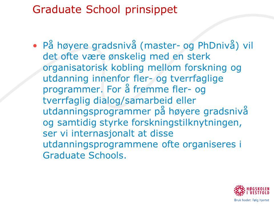Graduate School prinsippet •På høyere gradsnivå (master- og PhDnivå) vil det ofte være ønskelig med en sterk organisatorisk kobling mellom forskning o