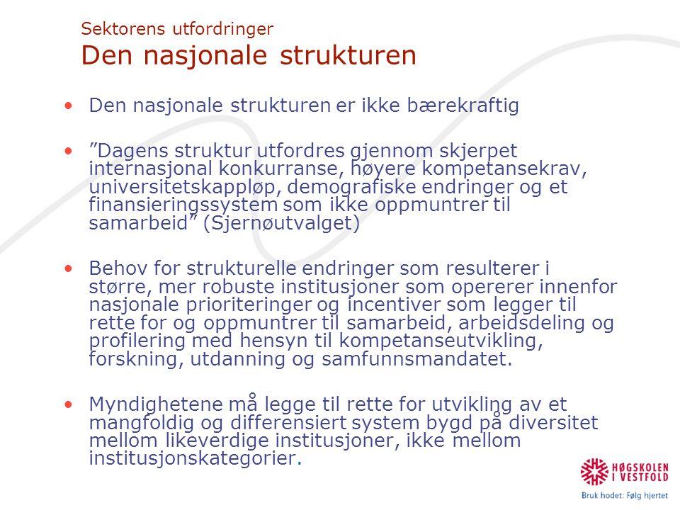 """Sektorens utfordringer Den nasjonale strukturen •Den nasjonale strukturen er ikke bærekraftig •""""Dagens struktur utfordres gjennom skjerpet internasjon"""