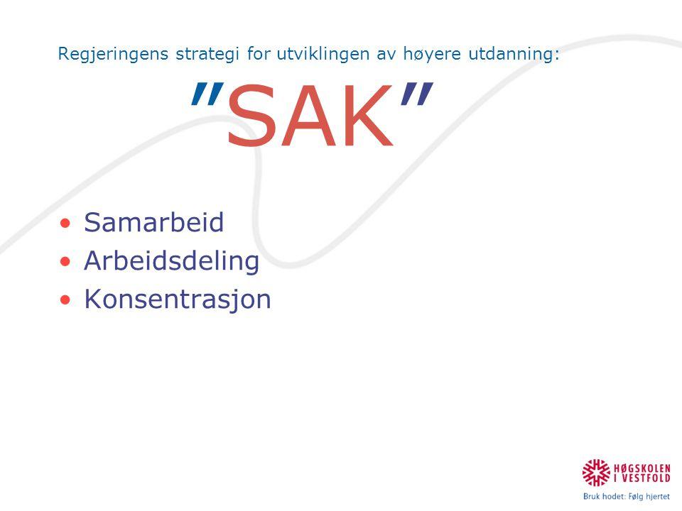 """Regjeringens strategi for utviklingen av høyere utdanning: """"SAK"""" •Samarbeid •Arbeidsdeling •Konsentrasjon"""