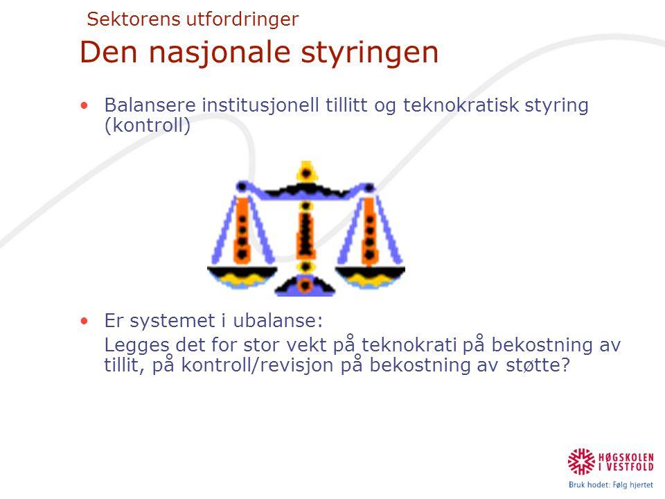 Sektorens utfordringer Den nasjonale styringen •Balansere institusjonell tillitt og teknokratisk styring (kontroll) •Er systemet i ubalanse: Legges de