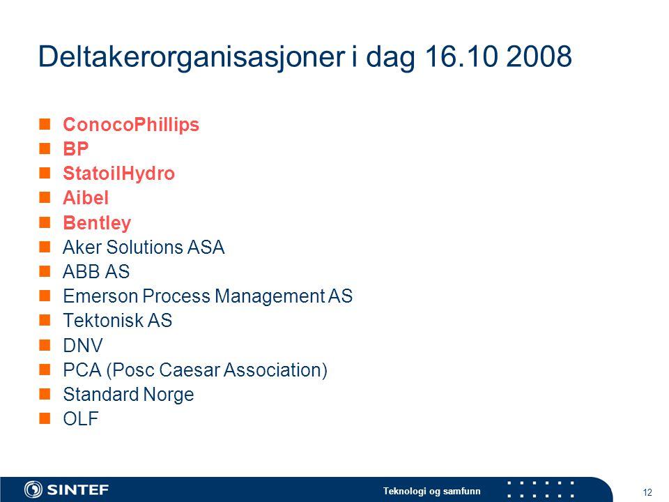 Teknologi og samfunn 12 Deltakerorganisasjoner i dag 16.10 2008  ConocoPhillips  BP  StatoilHydro  Aibel  Bentley  Aker Solutions ASA  ABB AS  Emerson Process Management AS  Tektonisk AS  DNV  PCA (Posc Caesar Association)  Standard Norge  OLF