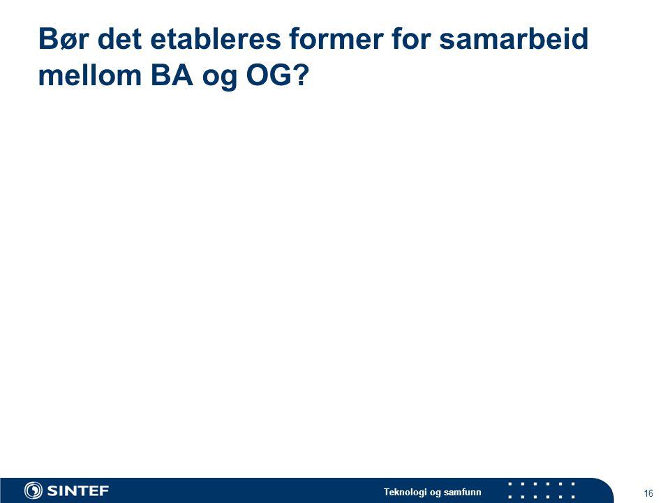 Teknologi og samfunn 16 Bør det etableres former for samarbeid mellom BA og OG?