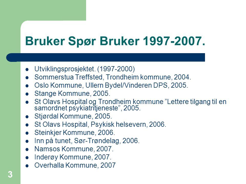 3 Bruker Spør Bruker 1997-2007. Utviklingsprosjektet.