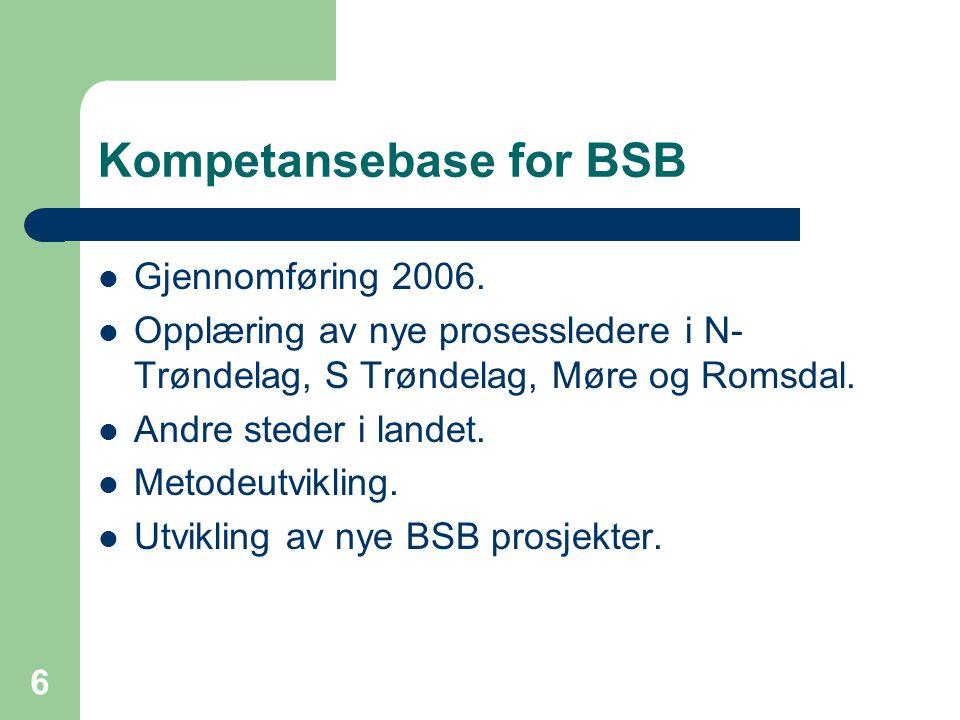 6 Kompetansebase for BSB  Gjennomføring 2006.