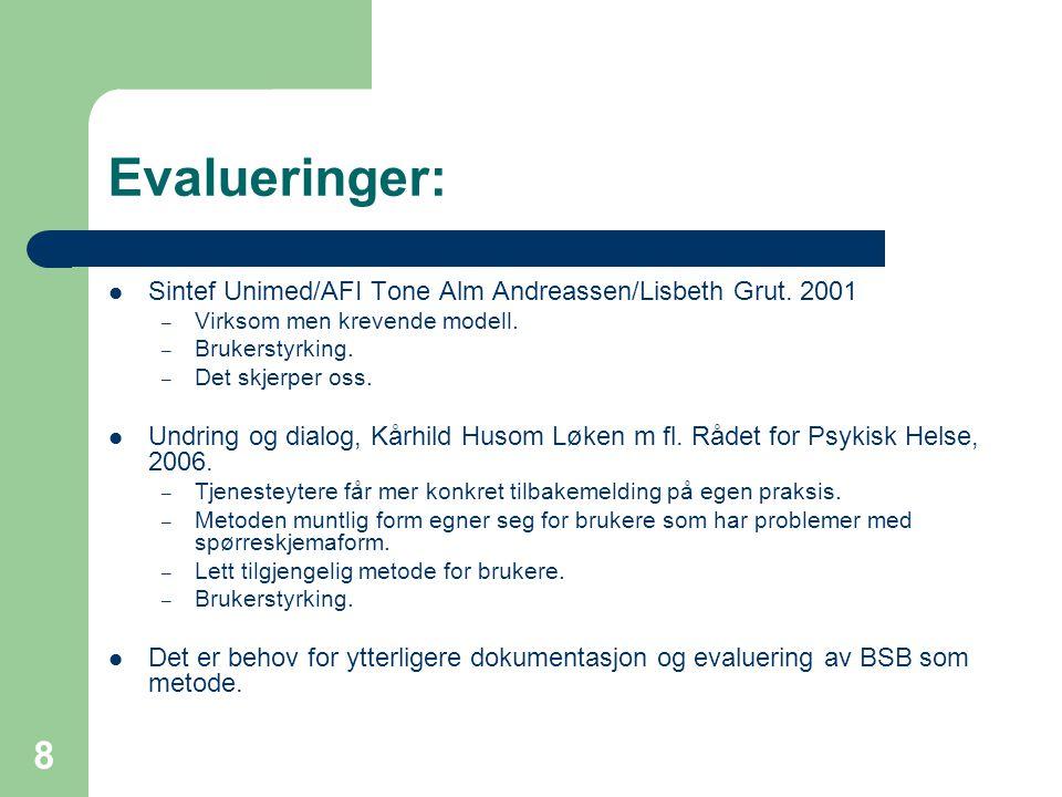 8 Evalueringer:  Sintef Unimed/AFI Tone Alm Andreassen/Lisbeth Grut.