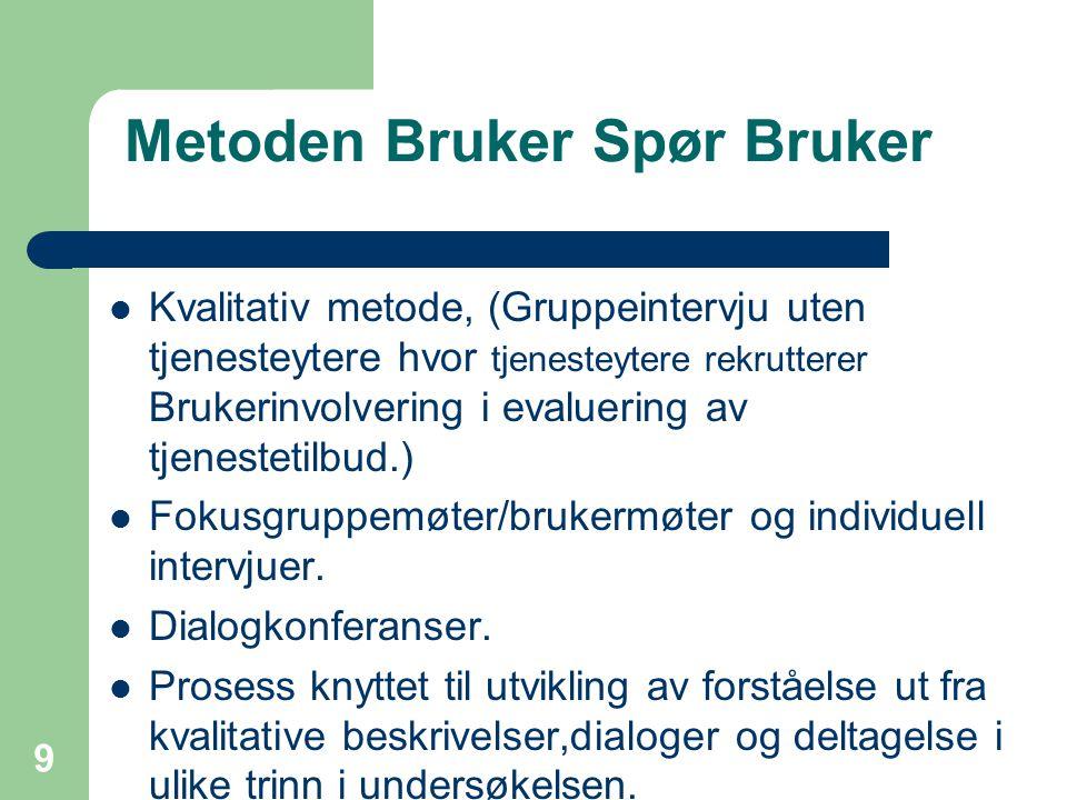 9 Metoden Bruker Spør Bruker  Kvalitativ metode, (Gruppeintervju uten tjenesteytere hvor tjenesteytere rekrutterer Brukerinvolvering i evaluering av tjenestetilbud.)  Fokusgruppemøter/brukermøter og individuell intervjuer.