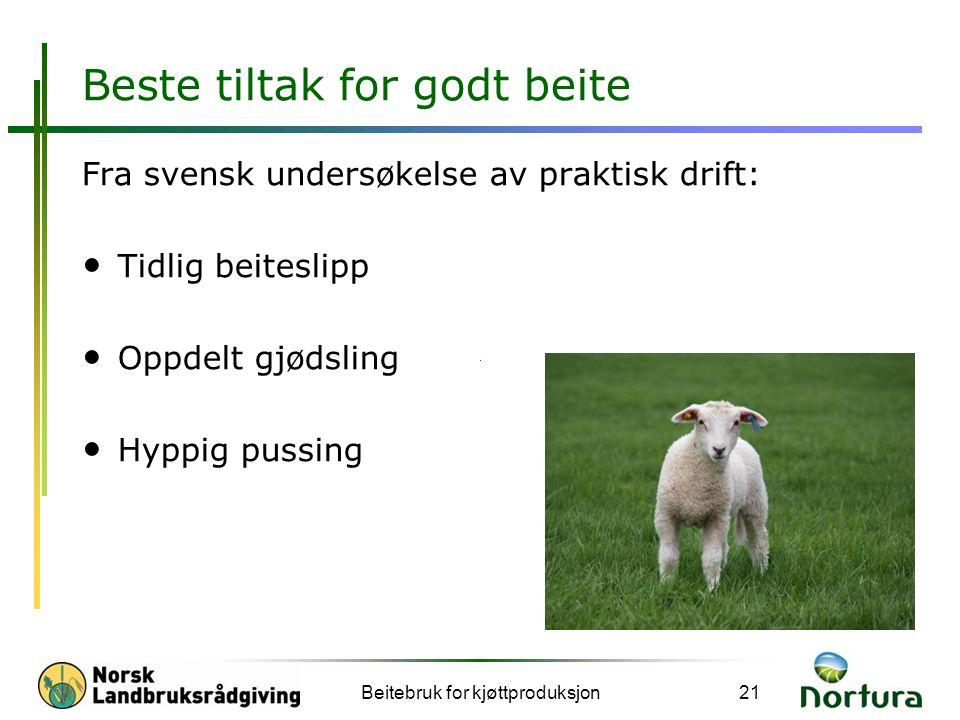 Beste tiltak for godt beite Fra svensk undersøkelse av praktisk drift: • Tidlig beiteslipp • Oppdelt gjødsling • Hyppig pussing Beitebruk for kjøttpro