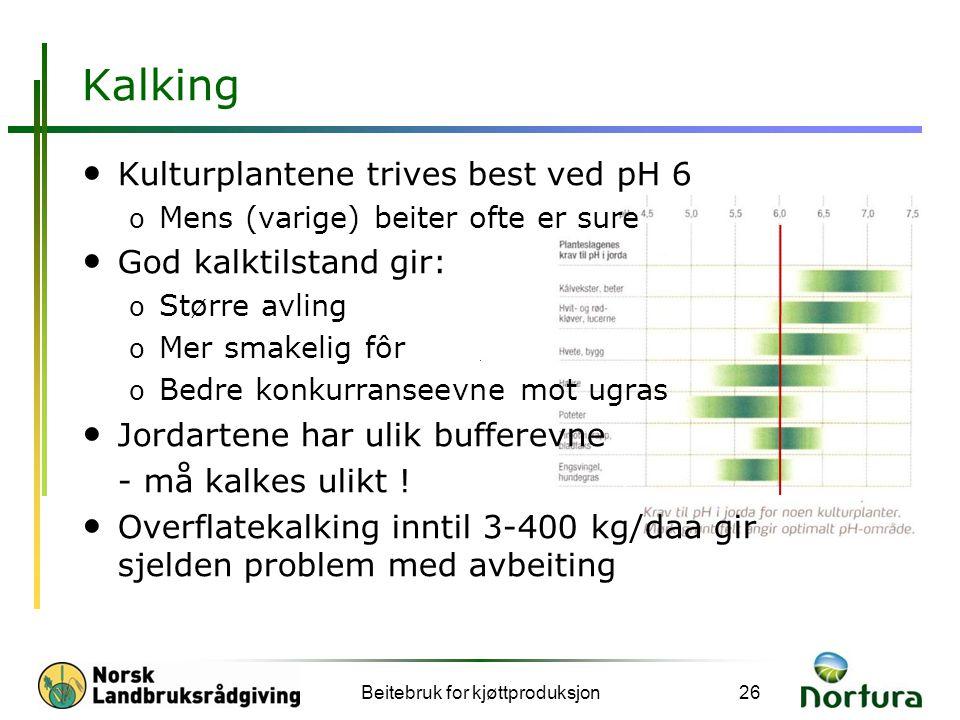 Kalking • Kulturplantene trives best ved pH 6 o Mens (varige) beiter ofte er sure • God kalktilstand gir: o Større avling o Mer smakelig fôr o Bedre k