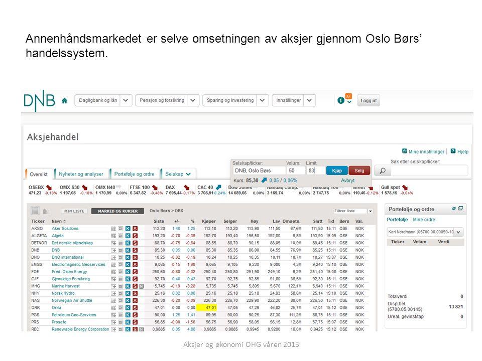 Annenhåndsmarkedet er selve omsetningen av aksjer gjennom Oslo Børs' handelssystem.