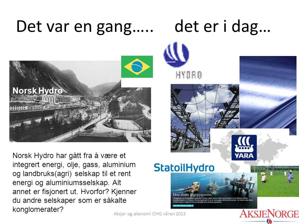 Det var en gang….. det er i dag… Norsk Hydro Norsk Hydro har gått fra å være et integrert energi, olje, gass, aluminium og landbruks(agri) selskap til