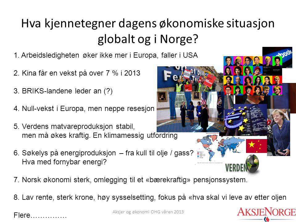 Hva kjennetegner dagens økonomiske situasjon globalt og i Norge? 1. Arbeidsledigheten øker ikke mer i Europa, faller i USA 2. Kina får en vekst på ove