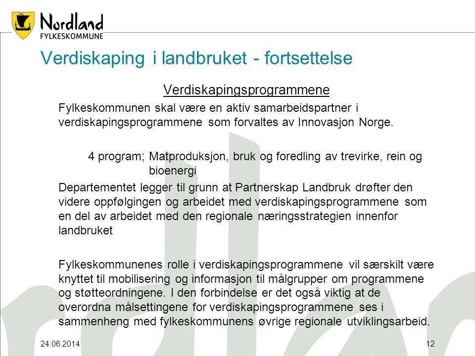 24.06.201412 Verdiskaping i landbruket - fortsettelse Verdiskapingsprogrammene Fylkeskommunen skal være en aktiv samarbeidspartner i verdiskapingsprogrammene som forvaltes av Innovasjon Norge.