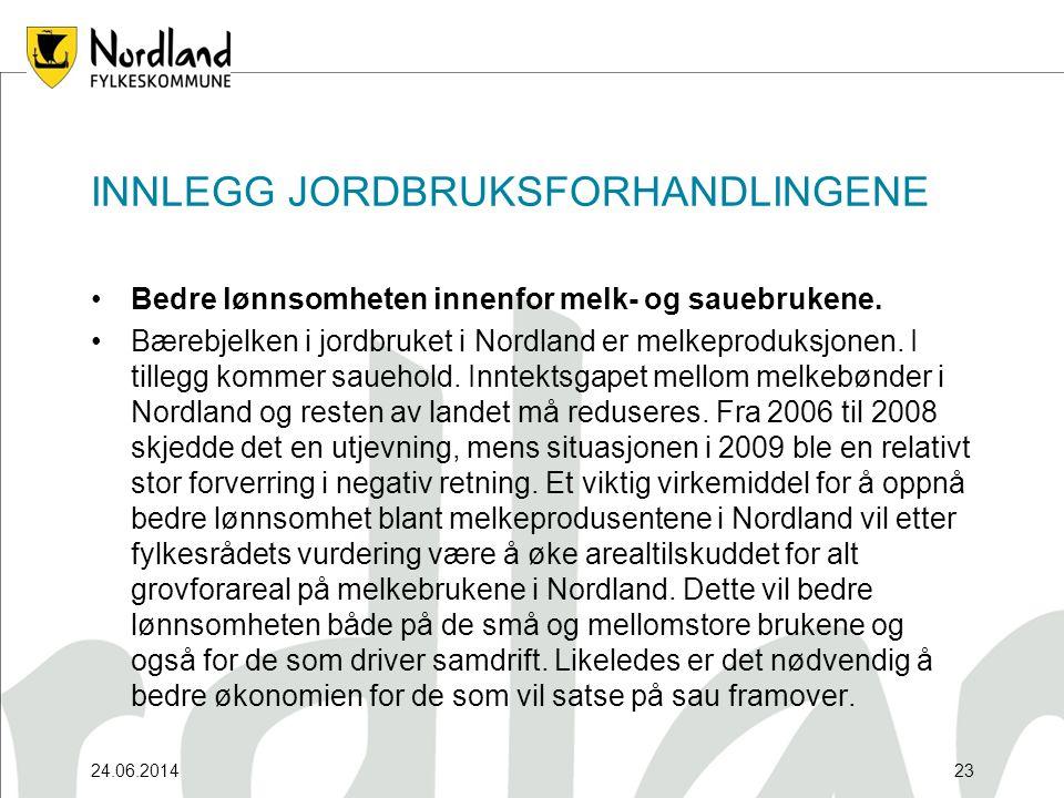 24.06.201423 INNLEGG JORDBRUKSFORHANDLINGENE •Bedre lønnsomheten innenfor melk- og sauebrukene.