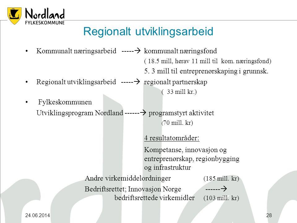 24.06.201428 Regionalt utviklingsarbeid •Kommunalt næringsarbeid -----  kommunalt næringsfond ( 18.5 mill, herav 11 mill til kom.