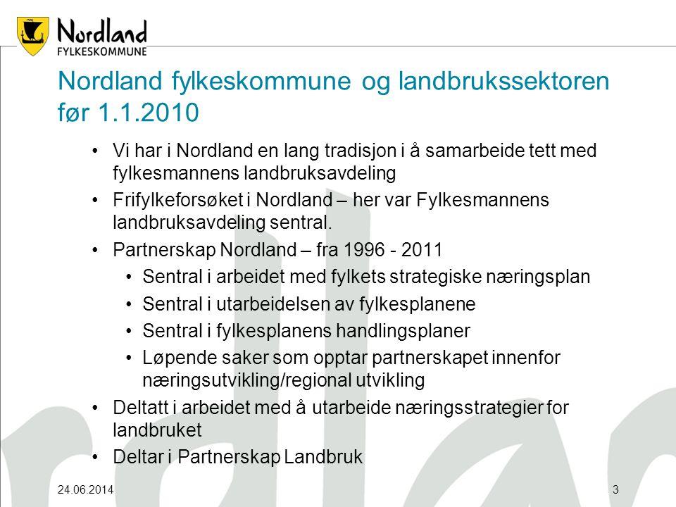 24.06.20143 Nordland fylkeskommune og landbrukssektoren før 1.1.2010 •Vi har i Nordland en lang tradisjon i å samarbeide tett med fylkesmannens landbruksavdeling •Frifylkeforsøket i Nordland – her var Fylkesmannens landbruksavdeling sentral.