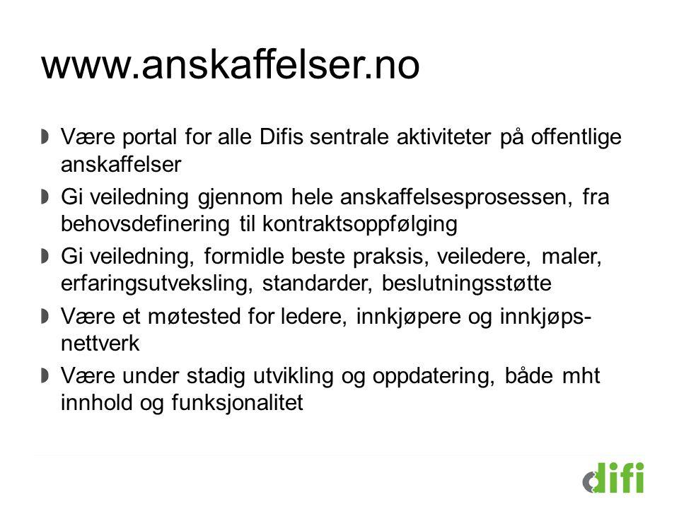 www.anskaffelser.no Være portal for alle Difis sentrale aktiviteter på offentlige anskaffelser Gi veiledning gjennom hele anskaffelsesprosessen, fra b