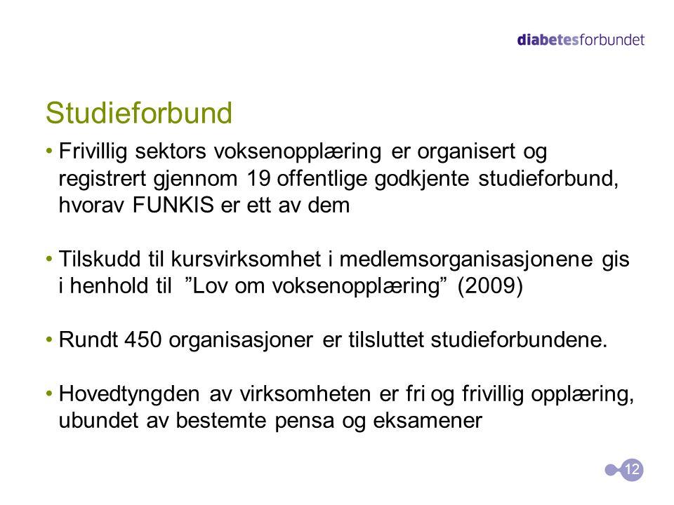 Studieforbund •Frivillig sektors voksenopplæring er organisert og registrert gjennom 19 offentlige godkjente studieforbund, hvorav FUNKIS er ett av de