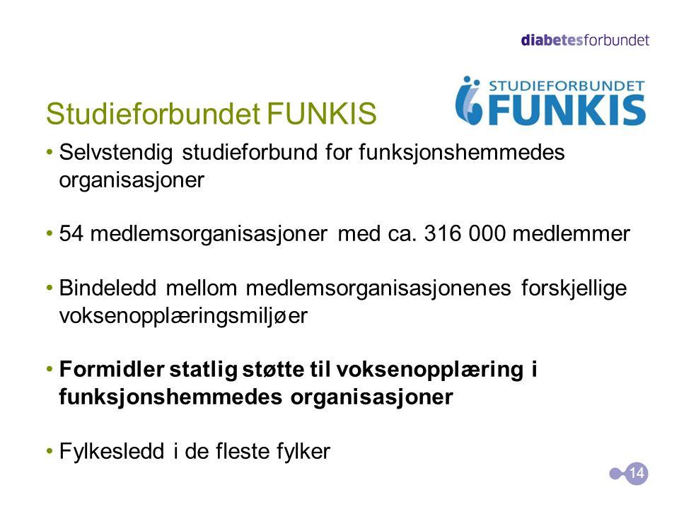 Studieforbundet FUNKIS •Selvstendig studieforbund for funksjonshemmedes organisasjoner •54 medlemsorganisasjoner med ca. 316 000 medlemmer •Bindeledd