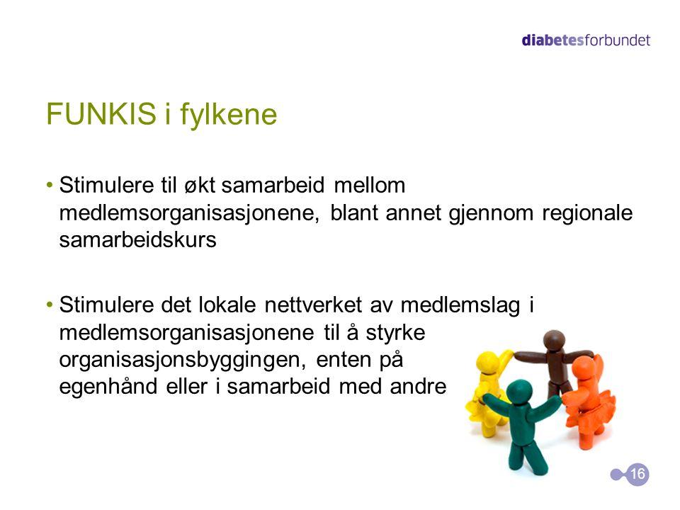 FUNKIS i fylkene •Stimulere til økt samarbeid mellom medlemsorganisasjonene, blant annet gjennom regionale samarbeidskurs •Stimulere det lokale nettve
