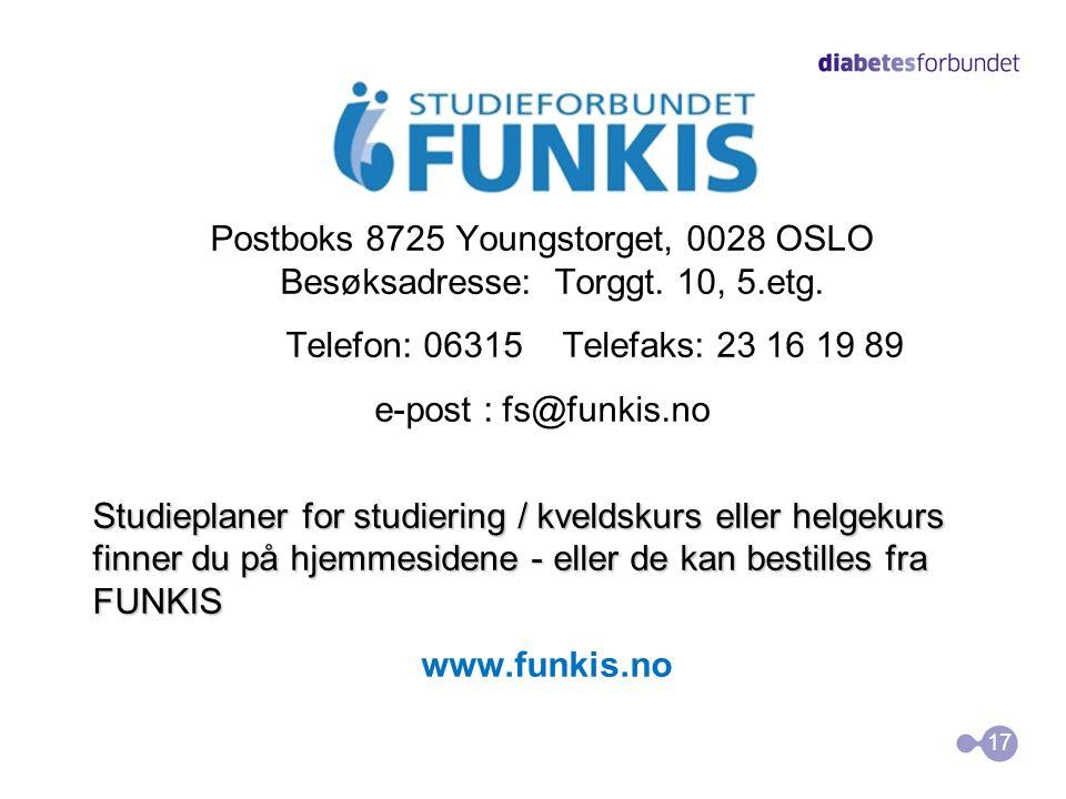 Postboks 8725 Youngstorget, 0028 OSLO Besøksadresse: Torggt. 10, 5.etg. Telefon: 06315 Telefaks: 23 16 19 89 e-post : fs@funkis.no Studieplaner for st