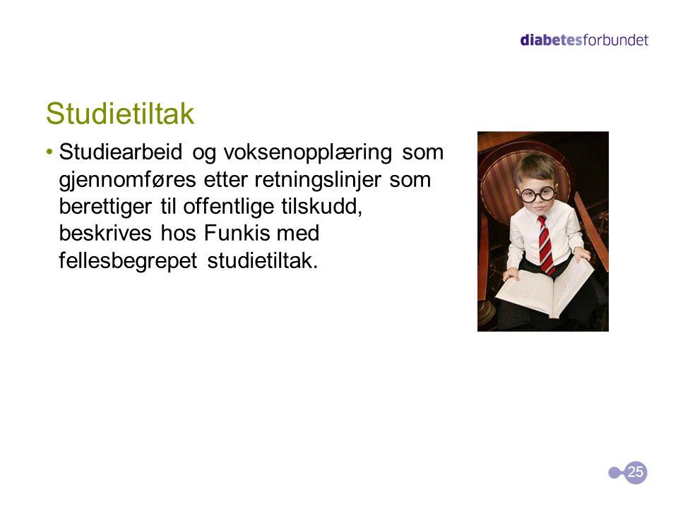Studietiltak •Studiearbeid og voksenopplæring som gjennomføres etter retningslinjer som berettiger til offentlige tilskudd, beskrives hos Funkis med f
