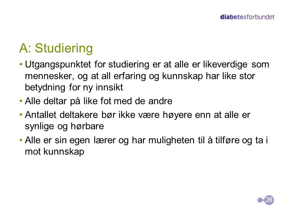 A: Studiering •Utgangspunktet for studiering er at alle er likeverdige som mennesker, og at all erfaring og kunnskap har like stor betydning for ny in