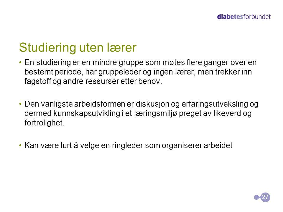 Studiering uten lærer •En studiering er en mindre gruppe som møtes flere ganger over en bestemt periode, har gruppeleder og ingen lærer, men trekker i
