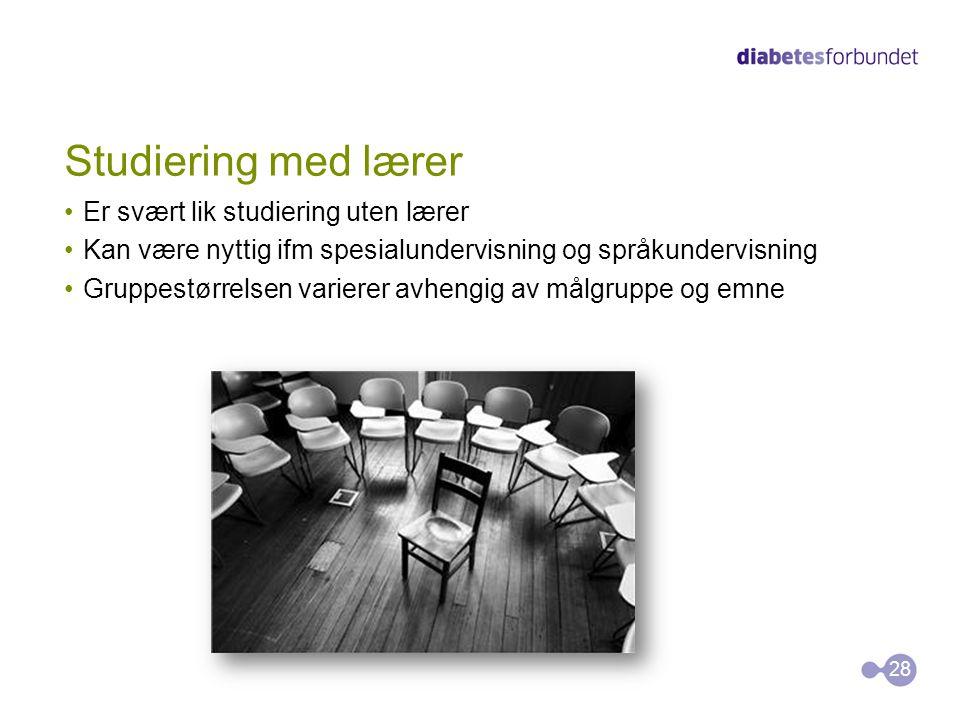 Studiering med lærer •Er svært lik studiering uten lærer •Kan være nyttig ifm spesialundervisning og språkundervisning •Gruppestørrelsen varierer avhe