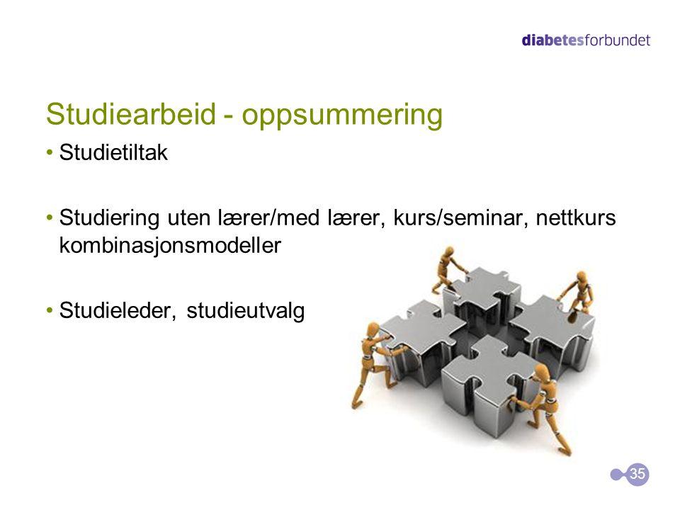 Studiearbeid - oppsummering •Studietiltak •Studiering uten lærer/med lærer, kurs/seminar, nettkurs kombinasjonsmodeller •Studieleder, studieutvalg 35