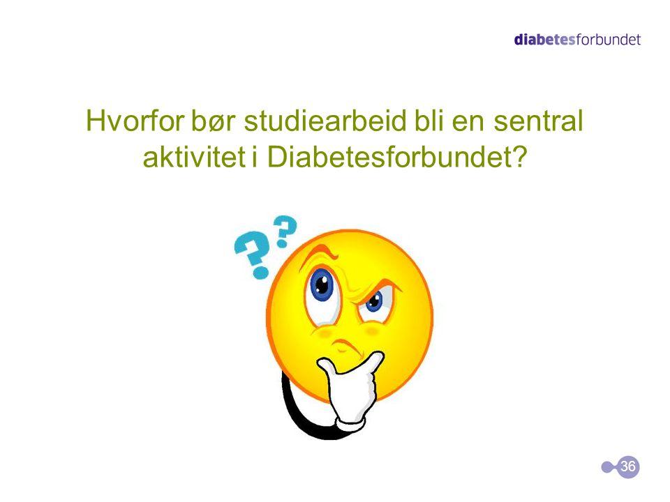 Hvorfor bør studiearbeid bli en sentral aktivitet i Diabetesforbundet? 36