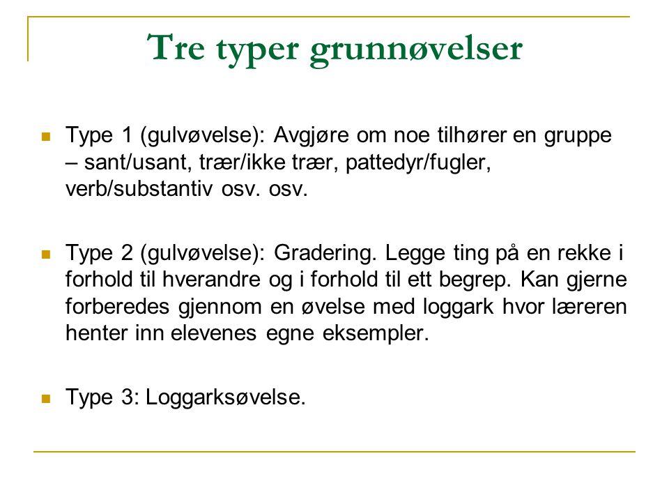 Tre typer grunnøvelser  Type 1 (gulvøvelse): Avgjøre om noe tilhører en gruppe – sant/usant, trær/ikke trær, pattedyr/fugler, verb/substantiv osv. os