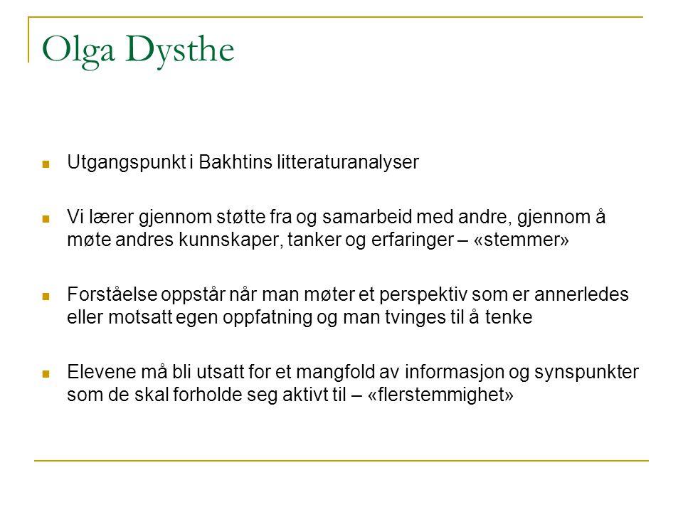 Olga Dysthe  Utgangspunkt i Bakhtins litteraturanalyser  Vi lærer gjennom støtte fra og samarbeid med andre, gjennom å møte andres kunnskaper, tanke