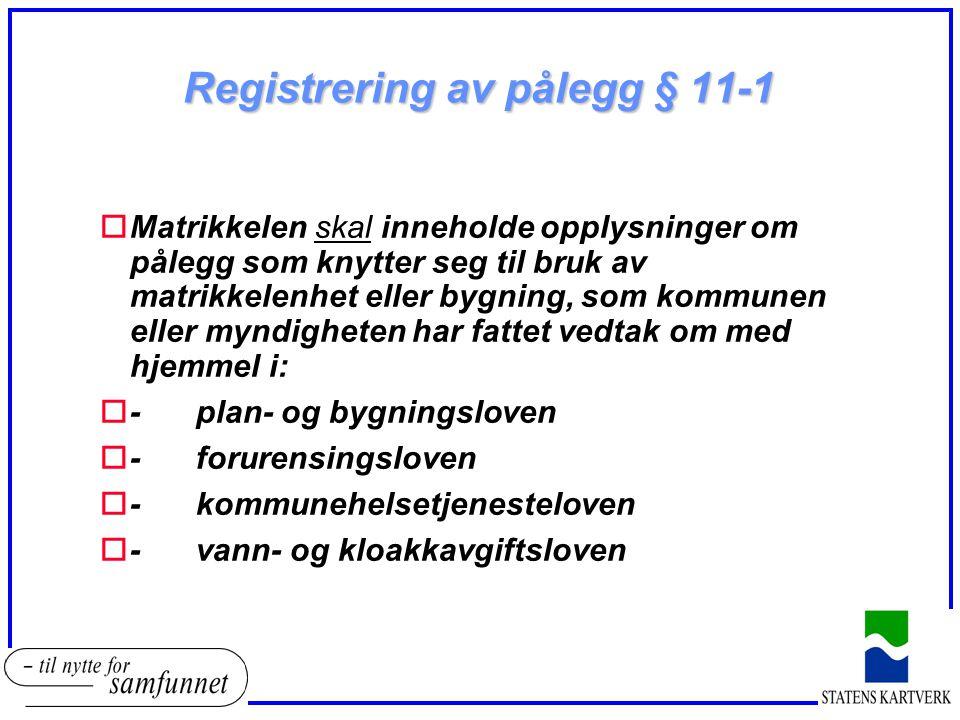 Registrering av pålegg § 11-1 oMatrikkelen skal inneholde opplysninger om pålegg som knytter seg til bruk av matrikkelenhet eller bygning, som kommune